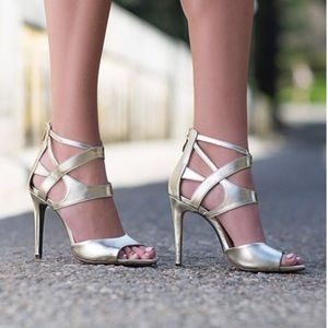 Shimmer Gold Leather Stiletto Open Toe Heels